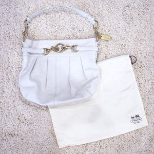 Coach Hampton White Hobo Bag Gold With Hardware